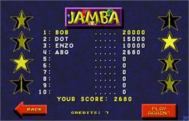 High Score Screen for Touchmaster 5000.