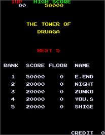 High Score Screen for Tower of Druaga.