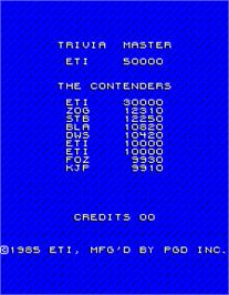 High Score Screen for Trivia Master.