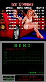 High Score Screen for Turbo Outrun.