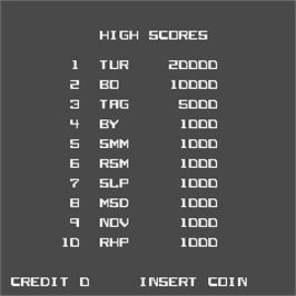 High Score Screen for Turbo Tag.