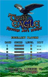 High Score Screen for Twin Eagle - Revenge Joe's Brother.