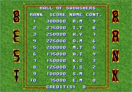 High Score Screen for Twin Squash.