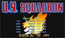 High Score Screen for U.N. Squadron.