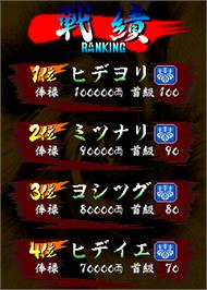 High Score Screen for Vasara.