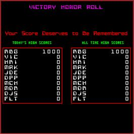 High Score Screen for Victory.