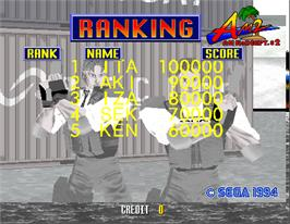 High Score Screen for Virtua Cop.