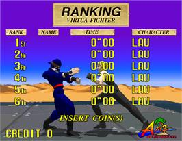 High Score Screen for Virtua Fighter.