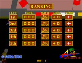 High Score Screen for Virtua Striker.