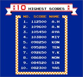High Score Screen for Vs. Excitebike.