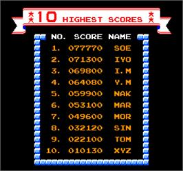 High Score Screen for Vs. Ice Climber.