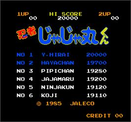 High Score Screen for Vs. Ninja Jajamaru Kun.