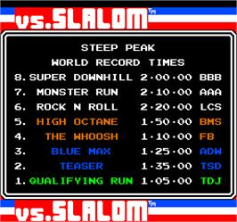 High Score Screen for Vs. Slalom.