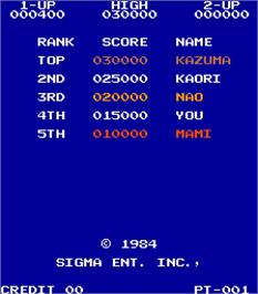 High Score Screen for Wanted.