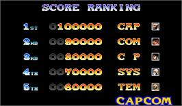 High Score Screen for Warriors of Fate.