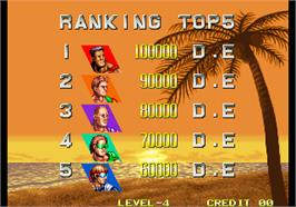 High Score Screen for Windjammers / Flying Power Disc.