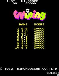 High Score Screen for Wiping.
