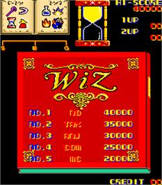 High Score Screen for Wiz.