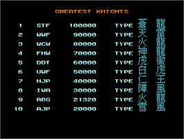 High Score Screen for Wolf Fang -Kuhga 2001-.