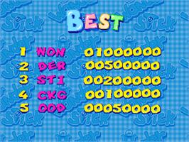 High Score Screen for Wonder Stick.