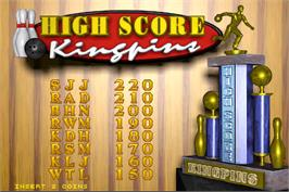 High Score Screen for World Class Bowling.
