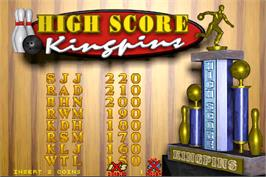 High Score Screen for World Class Bowling Tournament.