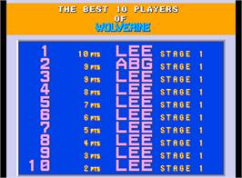 High Score Screen for X-Men.