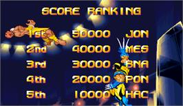 High Score Screen for X-Men Vs. Street Fighter.