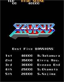 High Score Screen for Xevious.