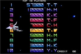 High Score Screen for Xexex.