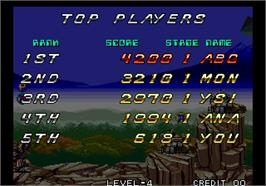 High Score Screen for Zed Blade / Operation Ragnarok.