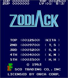 High Score Screen for Zodiack.