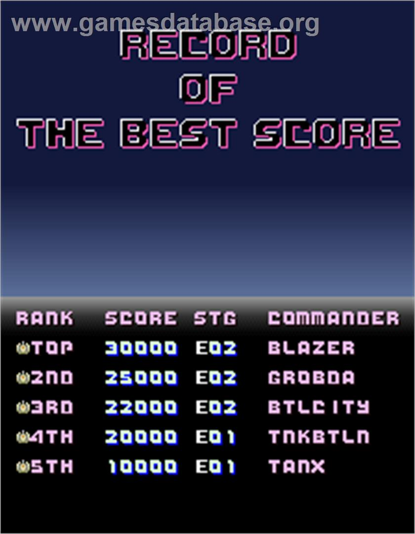 Assault Plus - Arcade - Artwork - High Score Screen