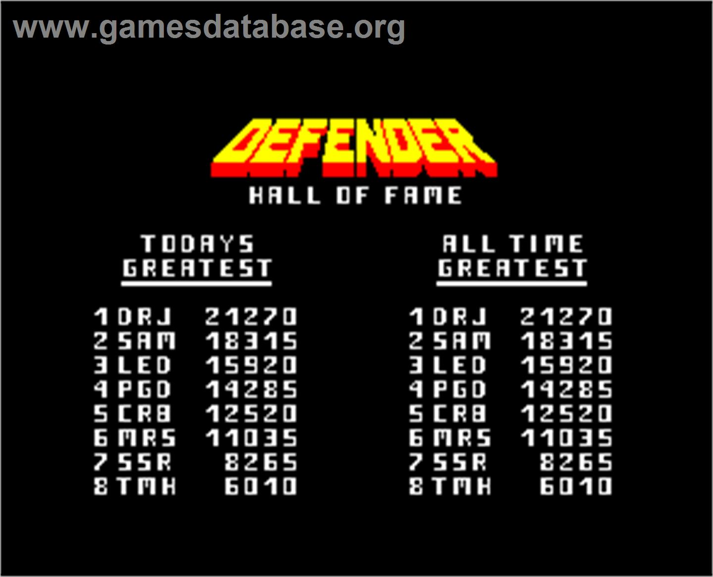 Defender - Arcade - Artwork - High Score Screen