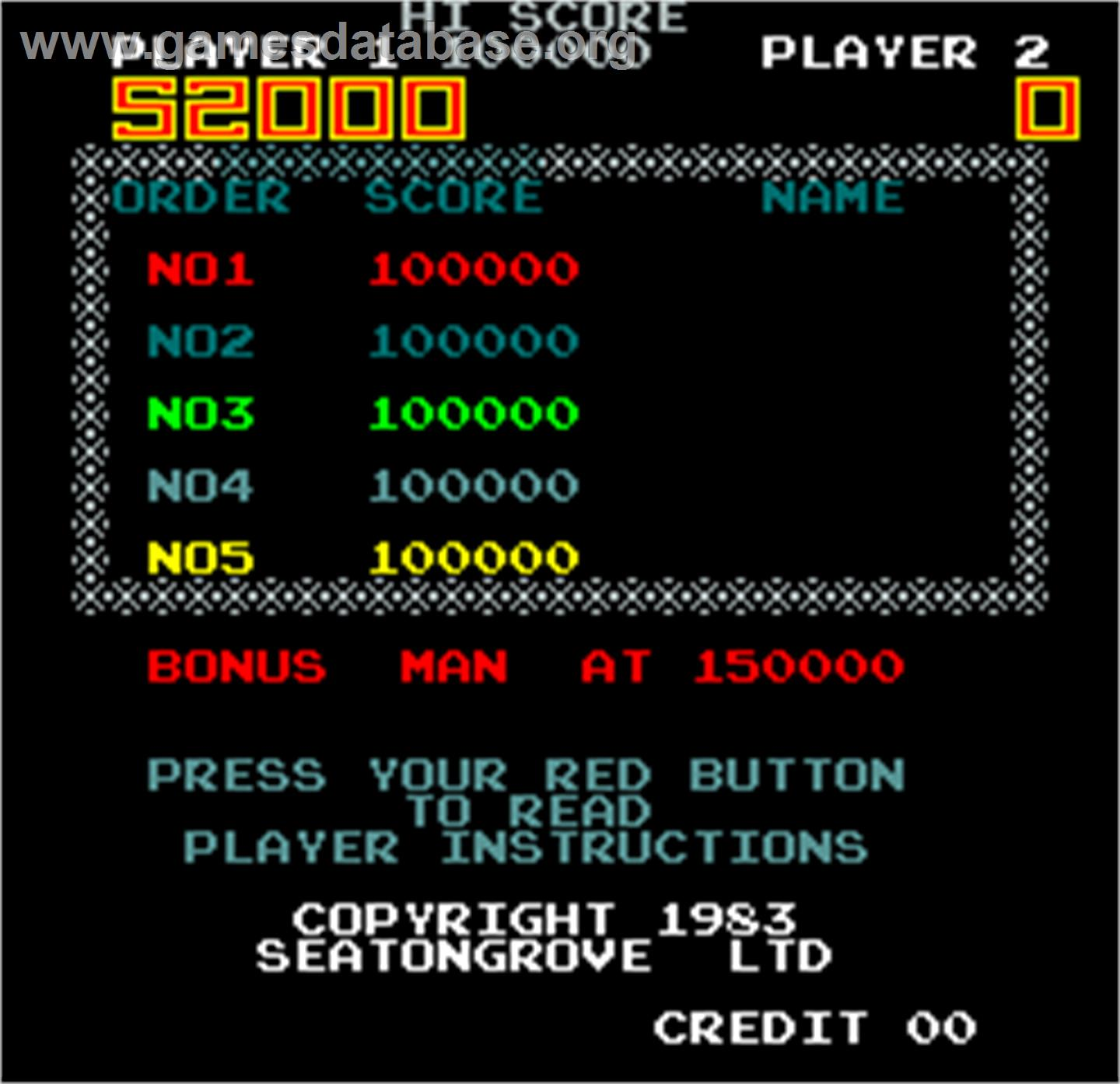 Hero - Arcade - Artwork - High Score Screen