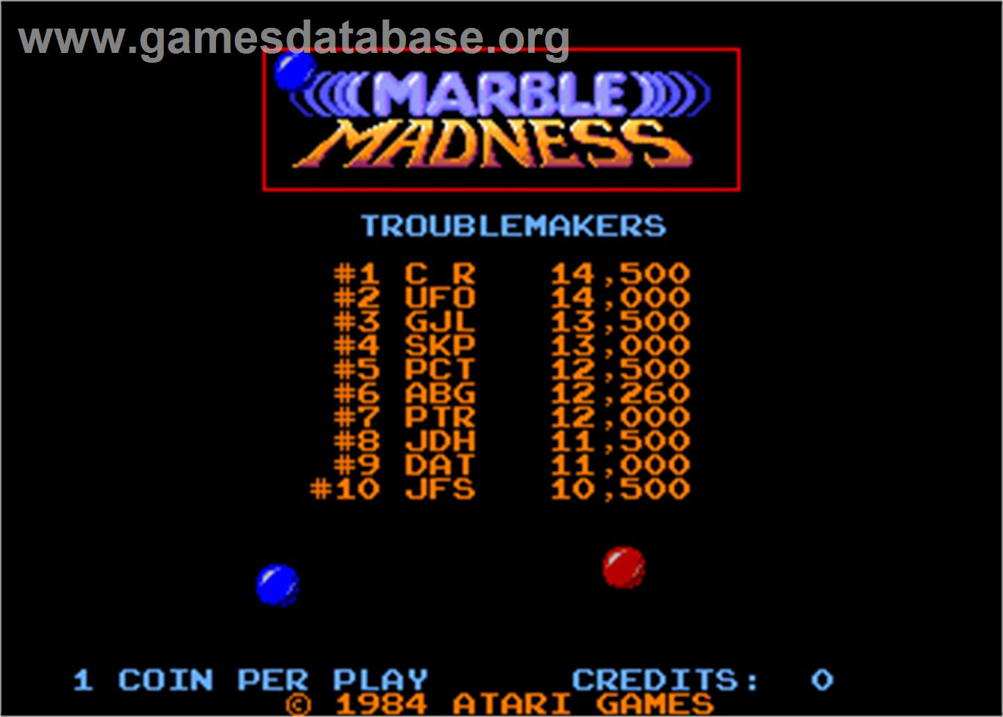 Marble Madness - Arcade - Artwork - High Score Screen