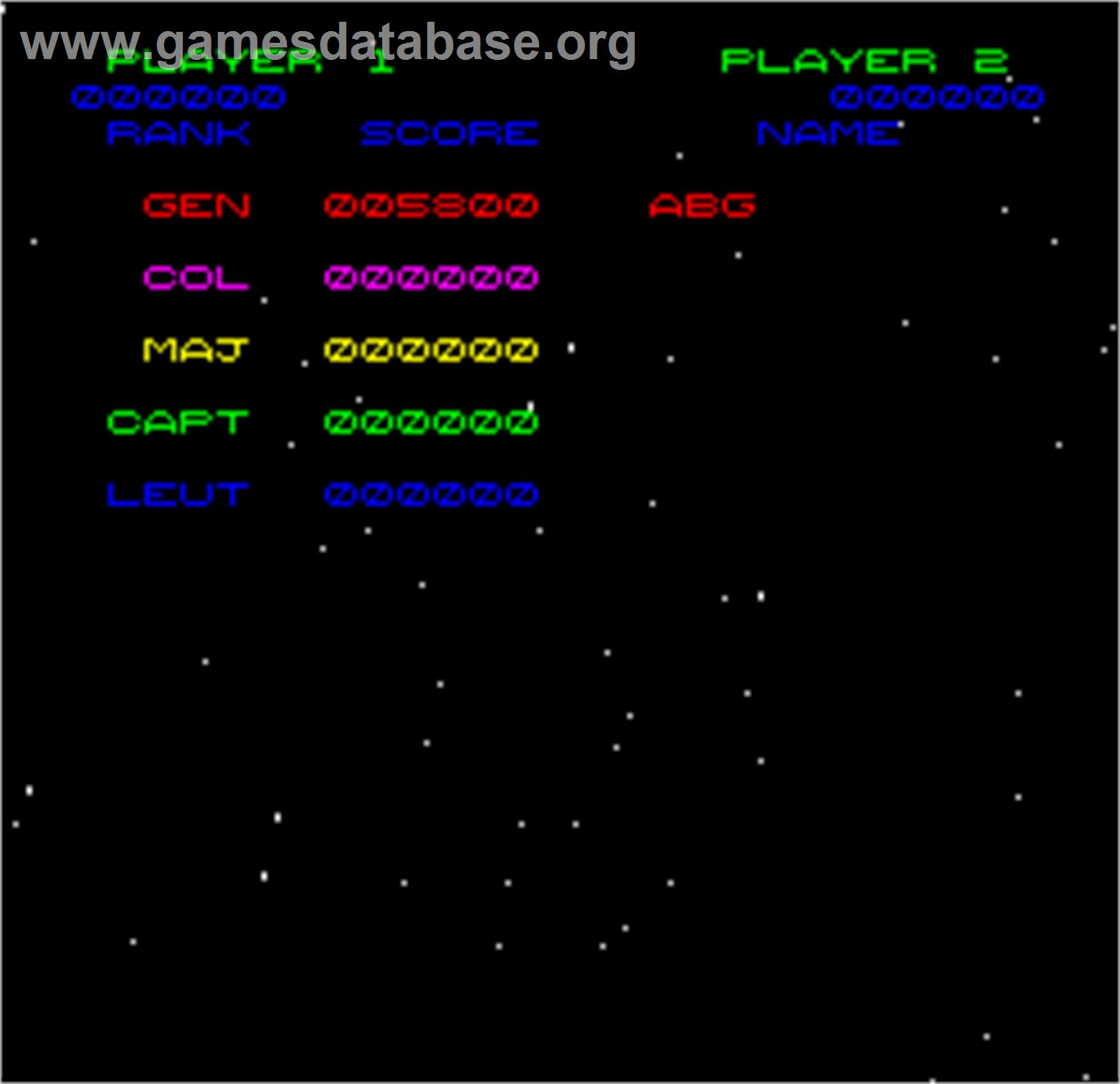 Space Fortress - Arcade - Artwork - High Score Screen