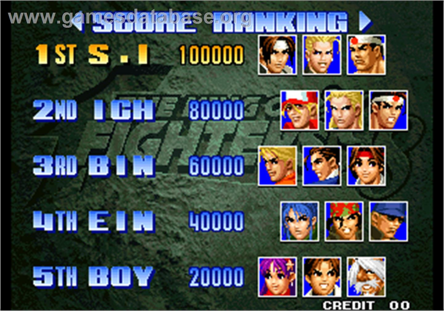 The King of Fighters '98 - The Slugfest / King of Fighters '98 - dream match never ends - Arcade - Artwork - High Score Screen