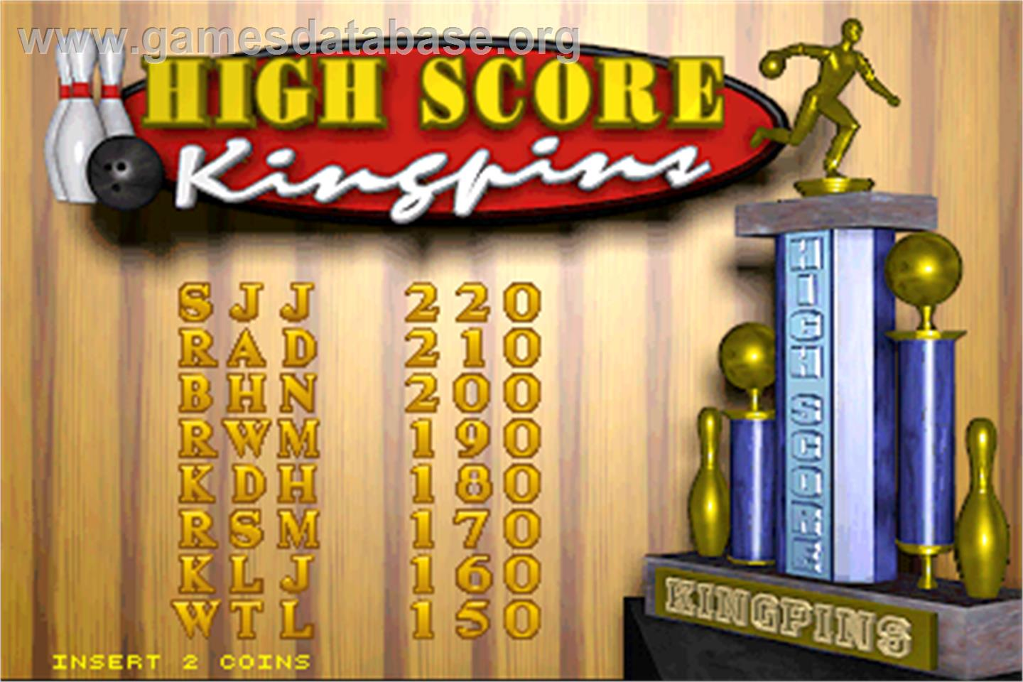 World Class Bowling Deluxe - Arcade - Artwork - High Score Screen