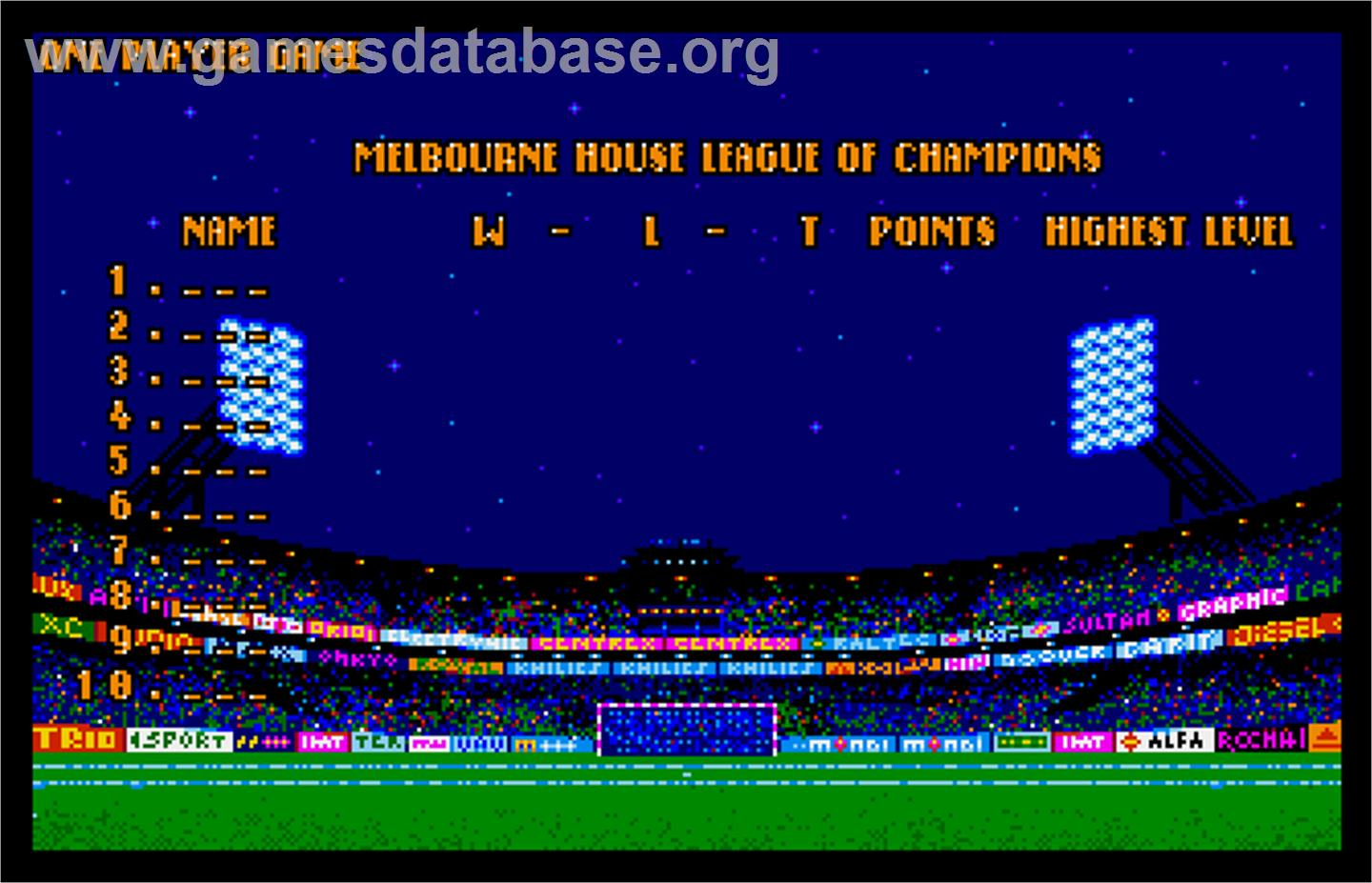World Trophy Soccer - Arcade - Artwork - High Score Screen