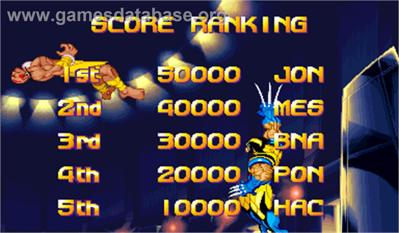 X Men Vs Street Fighter Arcade Artwork High Score Screen