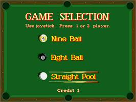 Select Screen for 9-Ball Shootout Championship.