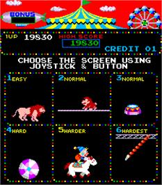 Select Screen for Circus Charlie.