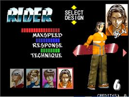 Select Screen for Cool Boarders Arcade Jam.