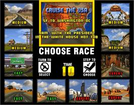 Select Screen for Cruis'n USA.