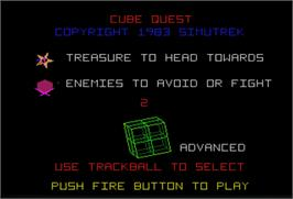 Select Screen for Cube Quest.