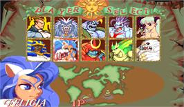 Select Screen for Darkstalkers: The Night Warriors.