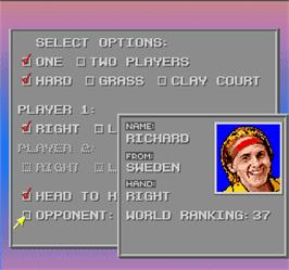 Select Screen for David Crane's Amazing Tennis.