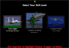 Select Screen for F-15 Strike Eagle.