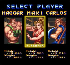 Select Screen for Final Fight 2.
